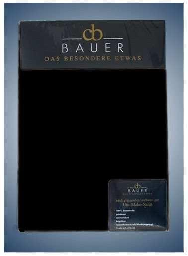 Curt Bauer Jersey Spannbetttuch in schwarz